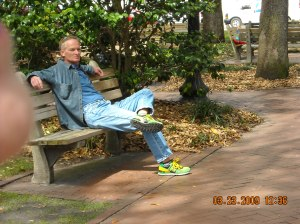 Relaxing in a Square, Notice the Shoes