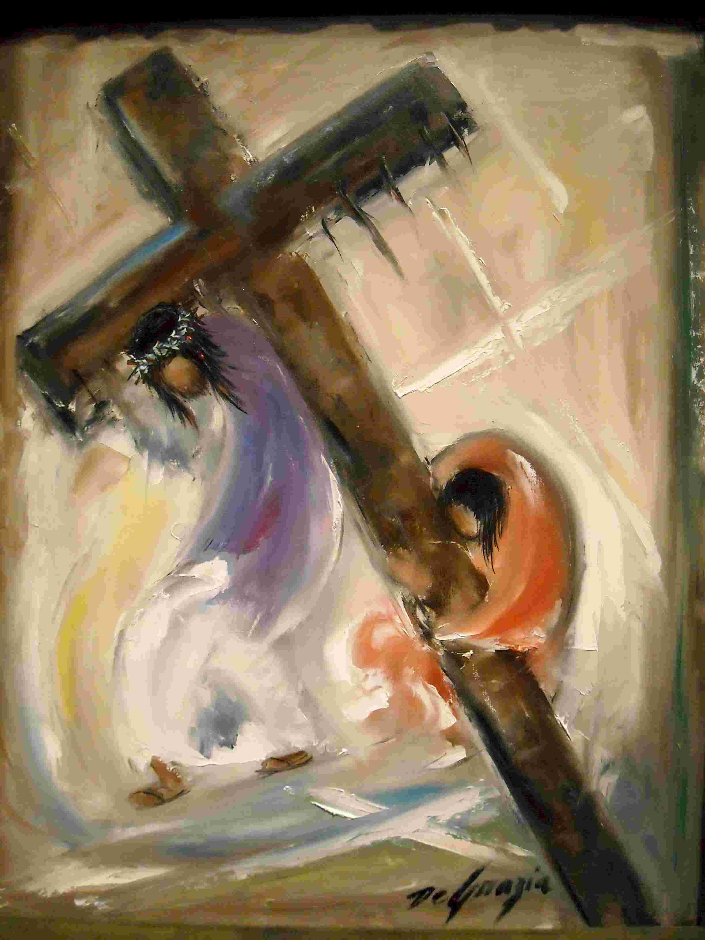 Simon van Sirene help Jezus' kruis dragen