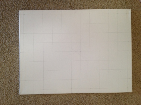 Canvas with grid penciled in