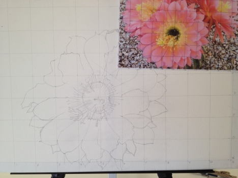 The pencil image of the subject is on the canvas, The photo is on the upper left to show the scale.